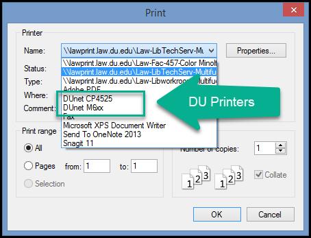 Printer Selection