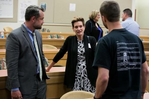 Professor John Campbell and Colorado Court of Appeals Judge Rebecca Freyre  debrief after Professor Diamond's talk