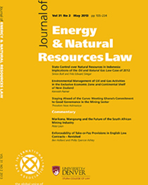 Journal Cover Energy and Natural Resources Law