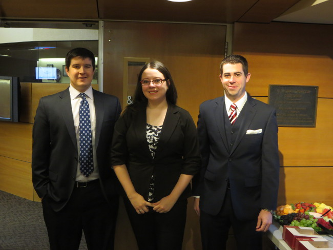 2016 Transactional LawMeets Team: James Ball, Kayla Martin and Tyson Welch