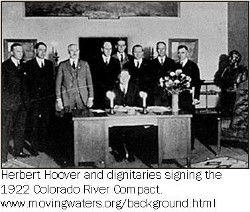 Hoover signing 1922 Colorado River Compact