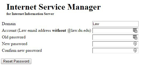 Internet Service Manager password reset