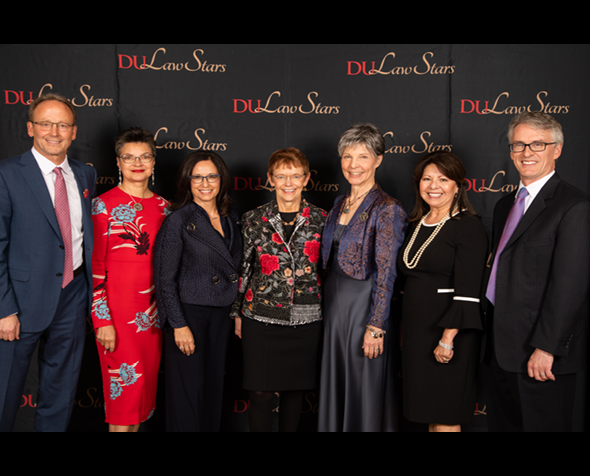 2018 DU Law Stars honorees with Dean Smith and Chancellor Chopp