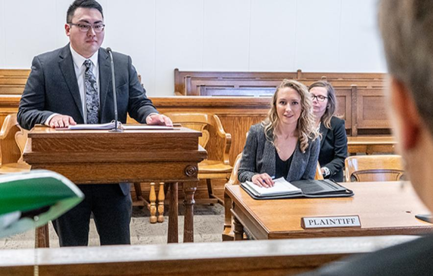 Clinical Program student in courtroom