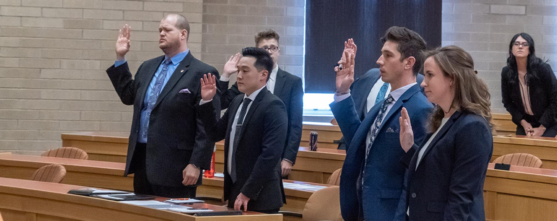 Denver Law students taking the oath