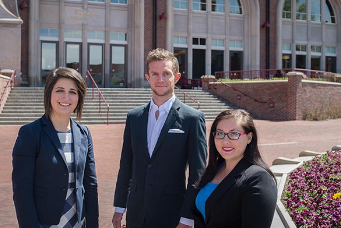 Denver Law students outside law building